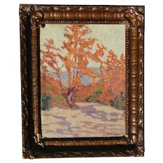 Clara M. Paton (1871 -1928) American California Wisconsin listed artist Impressionist  autumn landscape scene with  trees oil painting