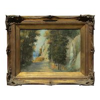 E.Coviello impressionist landscape painting of autumn trees small buff and waterfall
