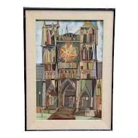 William Bishop Owen Jr  (1895 - 1963) colorful  modern geometric abstract art painting of Paris Notre Dame Cathedral