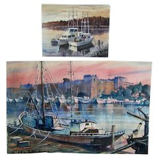 John Bohnenberger (1926-2012) listed American California artist pair original watercolor paintings of boats in the harbor