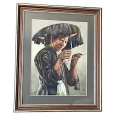 Kam  Cheung Ling (1911-1991) Chinese listed artist watercolor painting of a young woman