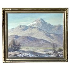 Ralph Hammeras  (1894 - 1970) American listed artist California plein air impressionist landscape painting of desert with the mountains 18X20