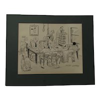 R. M. Vredenburg signed political or illustration cartoon circa 1950's 06 60's bad day at the office