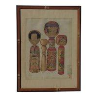 Junichiro Sekino (1914 -1988) Japanese woodblock print by Sosaku Hanga master artist of Kokeshi dolls