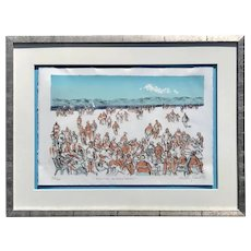 "Molly Joan Lamb Bobak  (1920 - 2014)  Canadian artist original color lithograph ""British Columbia Beach"" summer time vacation"