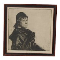 "Ferdinand Schmutzer (1870-1928) pencil signed etching portrait of Austrian actor Josef Kainz  as Hamlet ""To be, or not to be"""