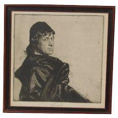 "Ferdinand Schmutzer (1870-1928) pencil signed etching portrait of Austrian actor Josef Kainz  as Hamlet ""To be, or not to be"""