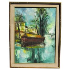 Jacques Cordier (1937-1975) French artist mid century impressionist oil painting of St. Martin Canal in Paris France