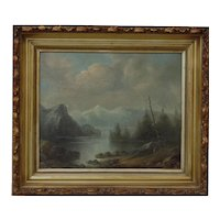 Old mountain lake and trees landscape oil painting by American artist