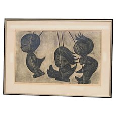 Ikeda Shuzo Japanese woodblock print of three happy  children playing on swings 1962 pencil signed limited edition