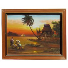 Filipino art tropical landscape at sunset oil painting dated signed 1983