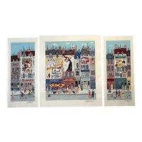 THREE Colorful French Paris France naive folk art city scene pencil signed original serigraphs unframed