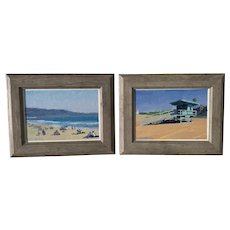 Pair Impressionist California Hollywood Riviera coastal beach scene oil paintings contemporary artist Ray Patrick