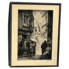 "Kurt Reiser (1887-1962) Belgian listed artist etching ""Ruelle au Port"" pencil signed"