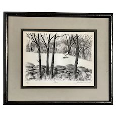 "Lawrence Beall Smith (1909-1993) American listed artist original lithograph ""Chase"" of the children playing in the woods"