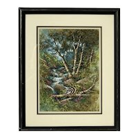 Grace Merjamian California listed artist wildlife art watercolor painting of threes creak and cute raccoon