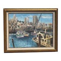 Alois Lecoque (1891 - 1981) American Czech listed artist gouache painting of Fisherman's Wharf San Francisco Mid century