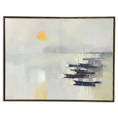 OKA artist abstract painting of a sunset boats at the harbor mid century style
