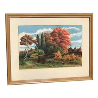 Beautifully executed impressionist American autumn landscape painting signed H.L. Brown 1942