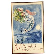 Marc Chagall (1887 -1985) color lithograph travel poster Nice Soleil Fleurs