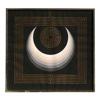 """John Willenbecher (1936) American artist OP art signed lithograph """"Sun up Labyrinth"""""""