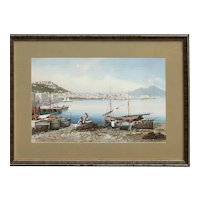 Y. Gianni Italian listed artist coastal landscape scene with boats and fisherman Vesuvius Mediterranean gouache painting signed