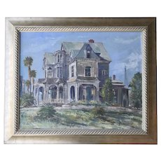 WILFRID TAYLOR MILLS (1912-1988) American Listed artist historic Victorian house Los Angeles large oil painting 31 X 36