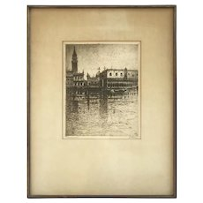 "Bela Kron 1925 Italian Art Venice Canal gondolas St. Mark's Basilica Church landscape etching Hungarian artist 22"" X 17"""