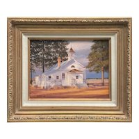 Rolf Zillmer 20th century American listed artist old wooden white Church Chapel in the landscape oil painting