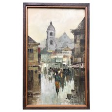 Cesar Buenaventura Filipino listed artist city street scene landscape with figures oil painting signed 1967