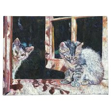 Batya Dagan American California listed artist cat art colorful oil painting of two kittens in a window