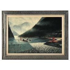 Howard Bertram Koslow  (1924 - 2016) American stamp poster artist Grumman Goose British Columbia painting