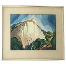Charles Orson Horton (1896 -945) American California listed artist watercolor landscape painting shady hills circa 1934