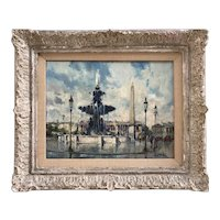 Jean Salabet 20th Century French Impressionist Artist Painting of Fountaine de la Concorde in Paris 1952