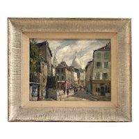 Jean Salabet 20th Century French Impressionist Artist Painting Montmartre white Sacre Coeur Church Paris 1952