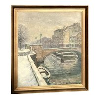 Impressionist European oil painting of bridge over the river boat and steps artist V. Nielsen 1943