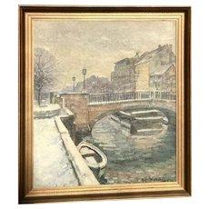 Impressionist European oil painting of bridge over the river boat and steps artist V. Nielsen 1943