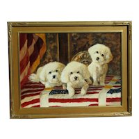 Contemporary original painting of three Shih Tzu dogs or puppies in patriotic interior design