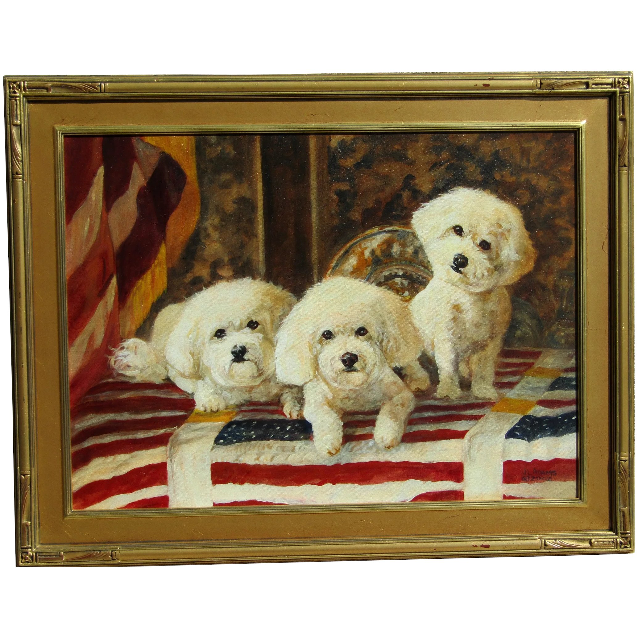 Contemporary Original Painting Of Three Shih Tzu Dogs Or Puppies In Dalia S Gallery Ruby Lane