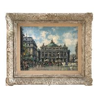 Jean Salabet 20th Century French Impressionist Artist Painting Grand Opera House Paris street scene 1952
