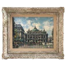 Jean Salabet 20th Century French Impressionist Artist Painting Grand Opera House Paris street scene 1952