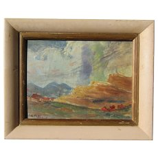 Mary Alice Higgy (1874 -1969) American Ohio artist landscape painting of clouds and mountains RARE