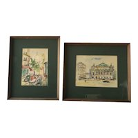 PAIR France Paris street scene impressionist watercolor paintings by artist Harvey 1973