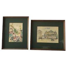 PAIR France Paris street scene impressionist watercolor paintings by artist Harvey 1973