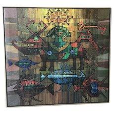 Artist Damast 1973 mythological modern colorful figures painting