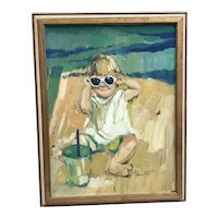 Corinne West American artist a little girl with sunglasses playing on the beach painting