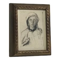 Sir George Clausen (1852-1944) Important British artist etching of a Roumanian Girl Pencil signed