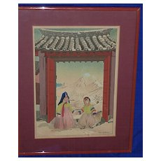 "Elizabeth Keith Japanese woodblock print ""Two Korean children in the snow"""
