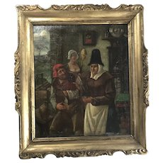 Flemish or Dutch Oil Painting Figures of peasants in interior