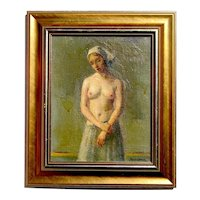 Robert Brackman Ukrainian American (1898-1980)well listed artist semi nude painting